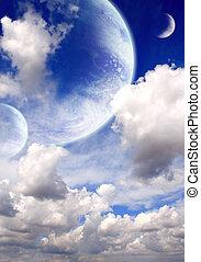 céu, em, estrangeiro, planeta