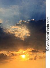 céu, em, pôr do sol
