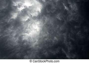 céu escuro, dramático, nuvens, tempestade