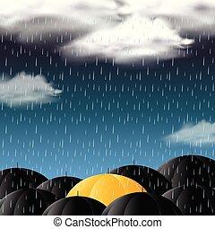 céu escuro, fundo, chuva