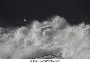 céu escuro, tempestuoso, contra, ondas