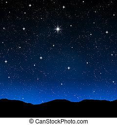 céu estrelado, à noite