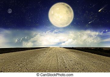 céu estrelado, e, estrada rural