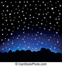 céu estrelado, e, paisagem montanha