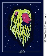 céu estrelado, leo, experiência., noturna, signos, sinal