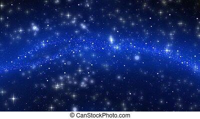 céu, estrelas, e, nebulosa, fundo