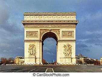 céu, fran, de, (arc, paris, dramático, triomphe), arco,...