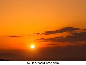 céu, fundo, ligado, pôr do sol