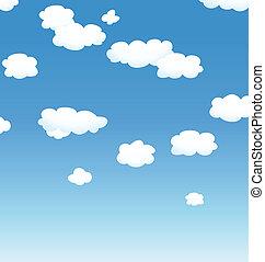céu, fundo, nuvens, vetorial