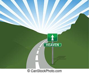 céu, ilustração, estrada