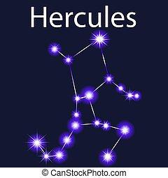 céu, ilustração, hercules, estrelas, noturna, constelação