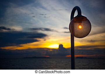 céu, lâmpada, pôr do sol, fundo, noturna, elegante