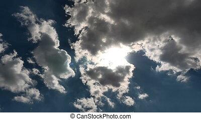 céu, lapso, nuvens, tempo