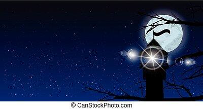céu, lua, árvores, noturna, farol, luz, sinal