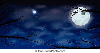 céu, lua, noturna, nuvens, árvores., ilustração