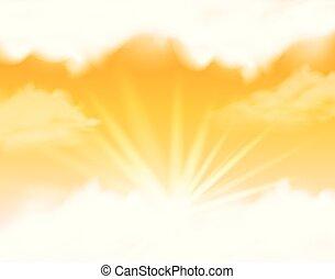céu, macio, nuvens, amarela