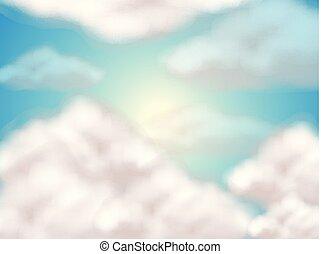 céu, macio, nuvens, fundo