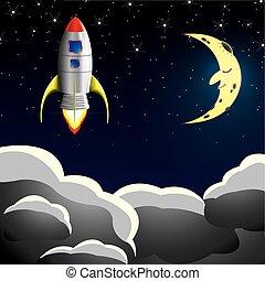 céu, nave espacial, foguete