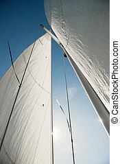 céu, navegue barco, velejando, contra