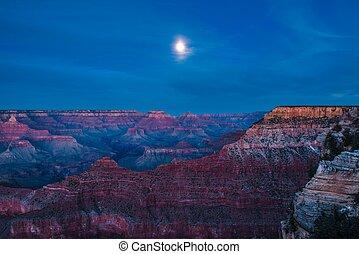 céu noite, com, lua cheia, sobre, garganta grande