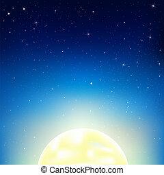 céu noite, com, lua