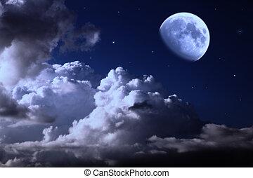 céu noite, com, lua, nuvens, e, estrelas