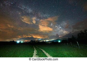 céu noite, e, estrada