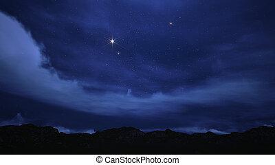 céu noite, enchido, com, stars.