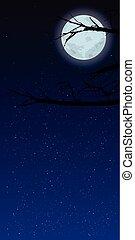 céu, noturna, com, lua, vertical, orientação, imagens