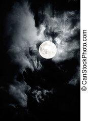 céu nublado escuro, com, lua cheia