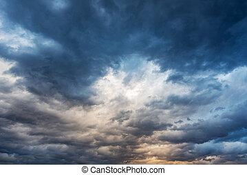 céu, nublado, storm., dramático, chuva, antes de