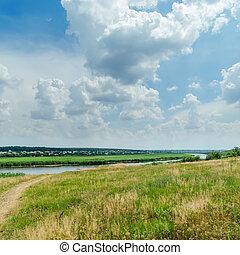 céu, nublado, verde, sob, paisagem rio