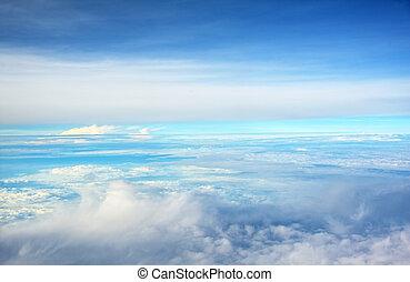 céu, nuvens, acima