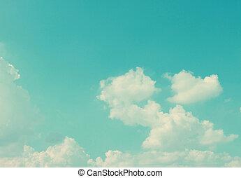 céu, nuvens, retro