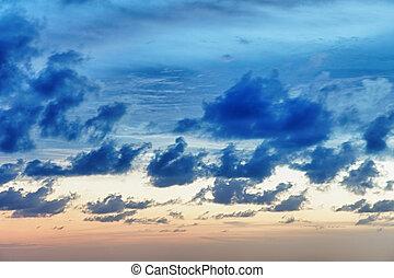 céu, pôr do sol, nublado, antes de