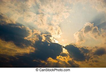 céu, pôr do sol, nuvens