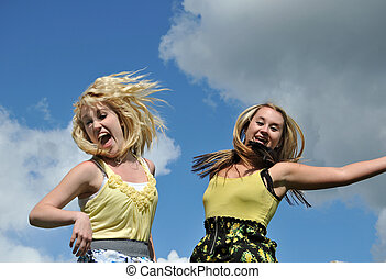 céu, pular, meninas, dois