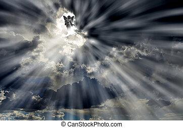 céu, raios, nuvens, anjo, luz
