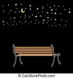 céu romântico, banco, stars., fundo, night.