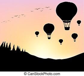 céu, silueta, balões