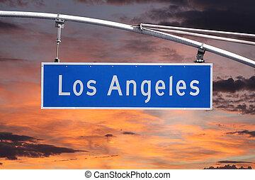 céu, sinal, angeles, los, rua, amanhecer