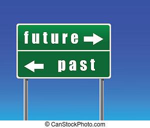 céu, sinal, passado, experiência., futuro, tráfego