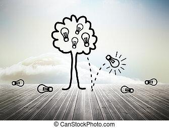 céu, sobre, árvore, idéia, floorboards