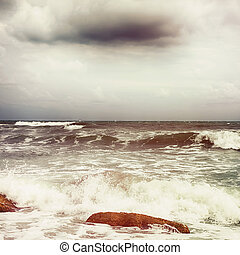 céu, sobre, dramático, nuvens, mar