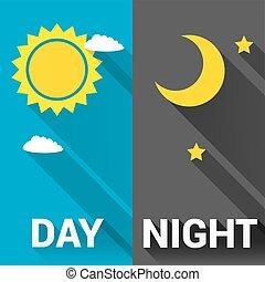 céu, sol, lua, vetorial, dia, night.