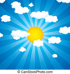 céu, sol, nuvens, vetorial
