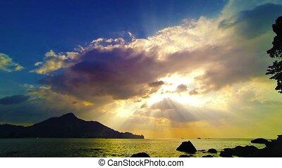 céu, sol, oceânicos, sunset., rays., tailandia, pacata, bonito, após