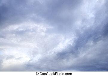 céu tempestuoso, com, sol