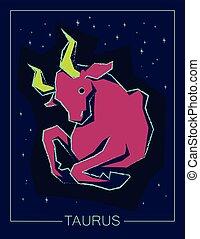 céu, touro, sinal, experiência., noturna, signos