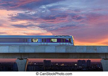 céu, trem, cidade, bangkok, tailandia
